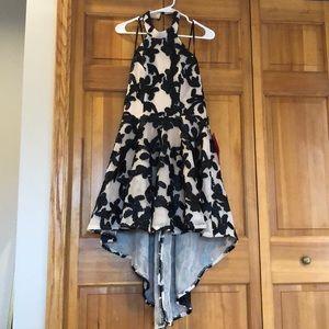 Black Lace Knee Length High Low Semi-Formal Dress
